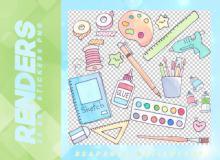 学习用品卡通贴纸之韩国笔刷风格下载(PNG免扣图透明格式)