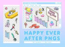 童趣天真贴纸素材之韩国笔刷风格下载(PNG免扣图透明格式)