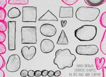 可爱幼稚的粉笔、蜡笔式涂鸦几何图形Photoshop笔刷素材下载