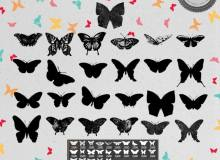 漂亮的蝴蝶花纹剪影图形素材ps笔刷下载