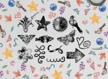 复古式花纹、星星、蝴蝶、小鸟等图形PS装饰笔刷