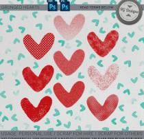 可爱粉嫩爱心图案、告别心形花纹PS笔刷下载