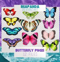 漂亮的七彩蝴蝶图案之韩国笔刷风格下载(PNG免扣图透明格式)