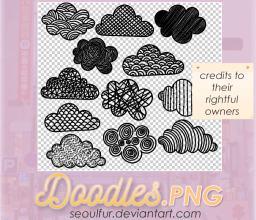 可爱卡通手绘涂鸦云朵PS笔刷(PNG透明格式素材)