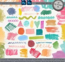 油漆水彩毛刷PS笔刷素材下载