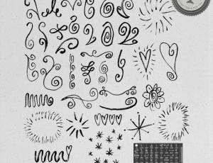 手绘童趣涂鸦简单花纹图案Photoshop笔刷下载