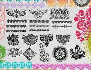 经典欧式古典花纹图案、欧式印花图形Photoshop笔刷下载