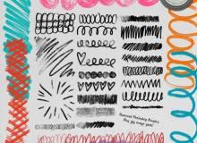 水彩笔随意涂鸦笔迹痕迹Photoshop笔刷素材下载