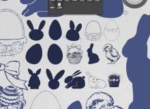 复活节蛋、兔子图形等Photoshop笔刷素材下载