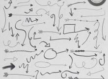 手绘涂鸦箭头标志、箭头标记Photoshop笔刷素材