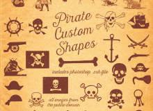 海盗元素图案、骷髅头、海盗船、船锚、海盗徽章等PS自定义形状素材.csh下载