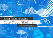 可爱卡通手绘涂鸦云朵、云彩Photoshop笔刷素材下载
