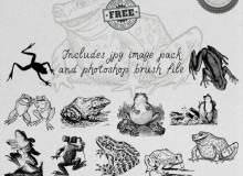 手绘素描式青蛙、癞蛤蟆等图形PS笔刷下载