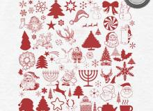 喜庆圣诞节装饰、圣诞老人图形等PS笔刷素材