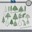 手绘涂鸦松树图形Photoshop卡通小树笔刷
