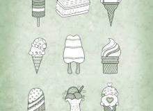 手绘冰淇淋、棒冰、雪糕等甜品图案Photoshop笔刷素材下载