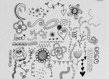 童趣涂鸦风格的手绘花纹、小清新印花图案Photoshop笔刷素材下载