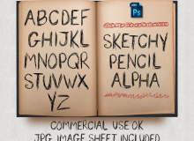 手划线涂鸦式英文字母Photoshop笔刷素材下载