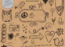 可爱童趣幼稚的手绘涂鸦图形Photoshop笔刷素材下载