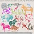 手绘驴子、野熊、野鹿、鸟兽、小狗、斑马、蝙蝠等PS图形笔刷
