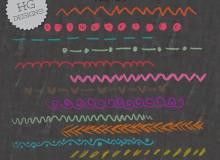 手绘粉笔、蜡笔纹理分割线条图案PS笔刷下载