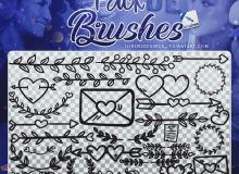 可爱手绘叶子线条、爱心信封等恋爱装饰PS美图笔刷