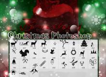 可爱的圣诞节麋鹿、圣诞树、圣诞老人、雪人等元素PS美图笔刷