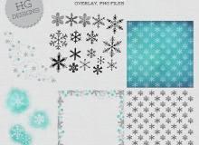 漂亮的雪花印记花纹图案Photoshop笔刷素材下载
