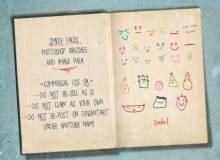 可爱涂鸦手绘笑脸符号、童趣风格的怪脸图形PS笔刷下载