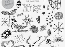 手绘可爱漂亮的奇形怪状的花朵图案PS笔刷下载