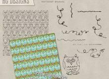 可爱卡通猫头鹰图形PS笔刷下载