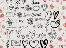 手绘可爱恋爱涂鸦爱心Photoshop美图笔刷