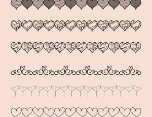 可爱爱心边界线、分割线、分隔符图案Photoshop笔刷素材
