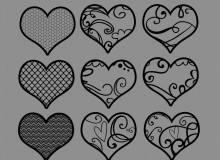 手绘涂鸦艺术爱心、心形图案PS恋爱笔刷