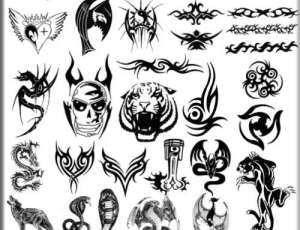 非主流酷炫流行刺青、纹饰图案Photoshop笔刷素材下载