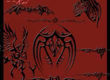恶魔纹饰图案、地狱纹身刺青Photoshop笔刷下载