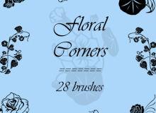 28种漂亮的鲜花花朵图案Photoshop植物花纹笔刷