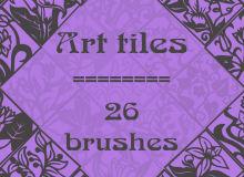 26种优雅的植物印花图案Photoshop印染花纹笔刷