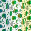 童趣手绘涂鸦森林图案填充Photoshop底纹素材.pat