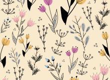 8种矢量花卉图案Photoshop填充印花底纹pat