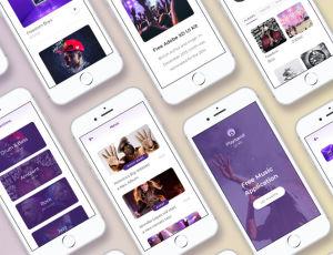 Playband音乐界面UI设计 – Adobe XD模板素材 免费下载
