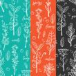4种手绘的杂树、杂草、野花线条Photoshop填充图案底纹素材 Patterns 下载