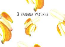 3种漂亮的水彩风格香蕉图案Photoshop填充图案底纹素材 Patterns 下载