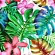 鲜艳的鲜花、叶子背景花纹图形Photoshop填充图案底纹素材 Patterns 下载