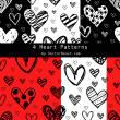 4种可爱涂鸦爱心、心形图案背景PS填充底纹素材下载