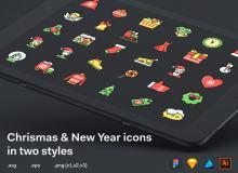 新年快乐、圣诞节快乐图标  –  Sketch 设计模板素材