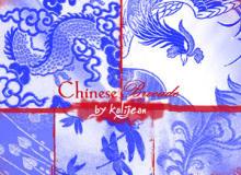 刺绣式中国传统龙纹、凤凰图案Photoshop装饰笔刷素材