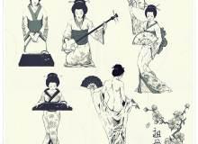 日本艺妓造型版刻图案PS笔刷下载