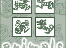 动物印记、原始部落动物图案Photoshop笔刷下载