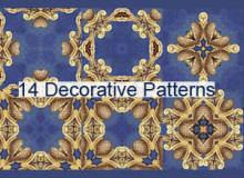 14种欧式花纹图案PS填充底纹素材下载